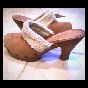 Gianni Bini Wood and Suede Clogs
